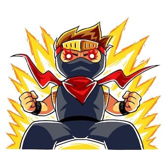 Modo furioso de menino ninja.