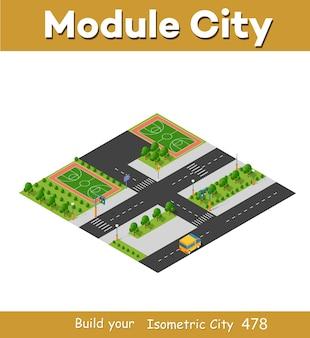 Módulo de bloco 3d isométrico do playground do distrito