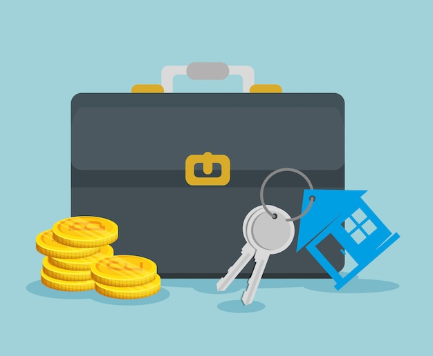 Moeda bitcoin com maleta e chaves da casa