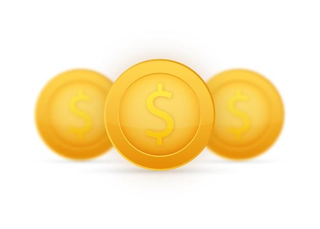Moeda com o símbolo do dólar. moeda de ouro dos desenhos animados. ilustração vetorial.
