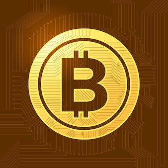 Moeda cripto do bitcoin liso do conceito de projeto. ilustrar de vetor.