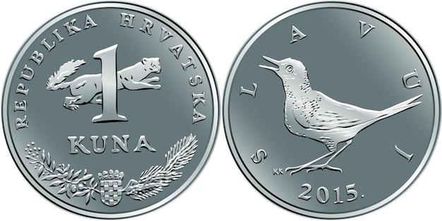 Moeda croata de 1 kuna, rouxinol no verso, marta no anverso, moeda oficial na croácia