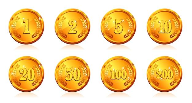 Moeda da moeda de ouro e preço com número