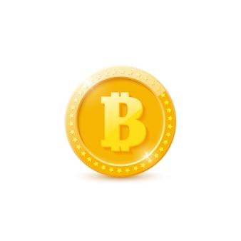 Moeda de bitcoin ouro realista 3d.