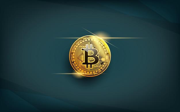 Moeda de bitcoin realista, uma moeda de criptografia de ouro preciosa com o símbolo do ícone de reflexão de luz isolado em fundo azul escuro. ilustração vetorial realista.