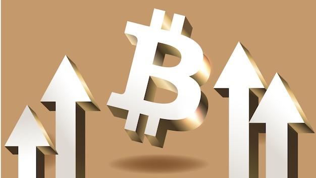 Moeda de bitcoin sobe criptomoeda com gráfico de crescimento tendência de alta de bitcoin da bolsa de valores internacional ...