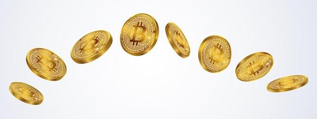 Moeda de bitcoins isolada em fundo cinza