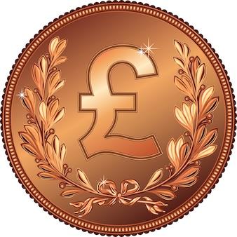 Moeda de bronze de libra com coroa de louros