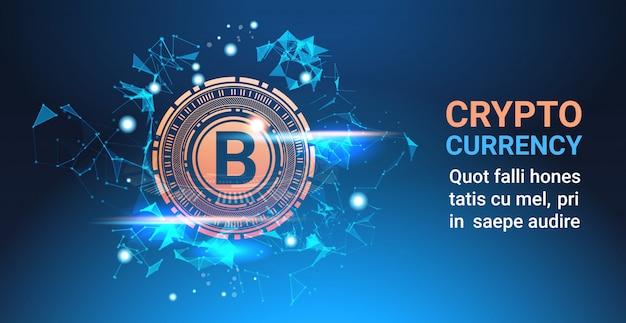 Moeda de criptografia bitcoin em fundo azul moeda de criptografia web moderna tecnologia banner com cópia spac