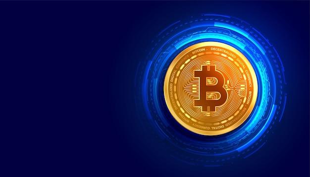 Moeda de criptomoeda bitcoin dourada com fundo de linhas de circuito digital