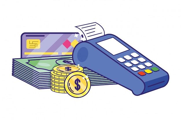 Moeda de dataphone bancário e pilha de notas