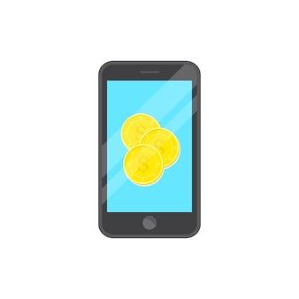 Moeda de desenho de vetor no telefone inteligente
