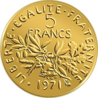Moeda de dinheiro francês cinco francos anverso