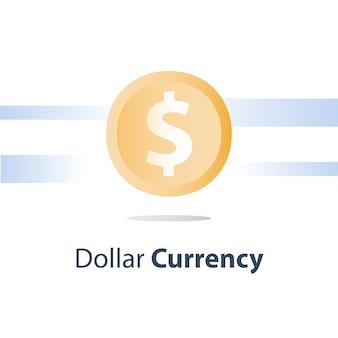 Moeda de dólar, empréstimo em dinheiro, câmbio, conceito de finanças, ícone