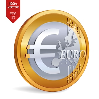 Moeda de euro. moeda 3d física isolada.