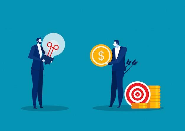 Moeda de exploração do homem com lâmpada. empresário tentando pegar alvo com dólar. ilustração plana