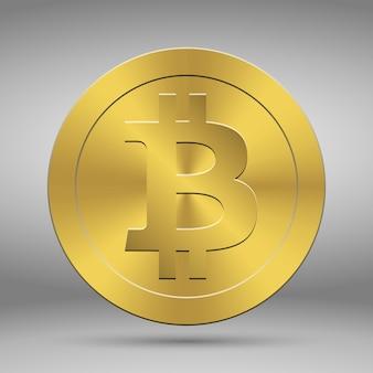 Moeda de ouro 3d com símbolo de bitcoin. moeda de criptografia