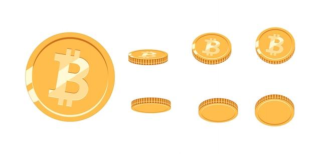 Moeda de ouro bitcoin em diferentes ângulos para animação.