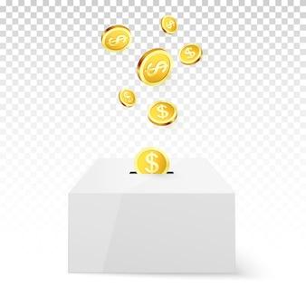 Moeda de ouro cair na caixa de dinheiro
