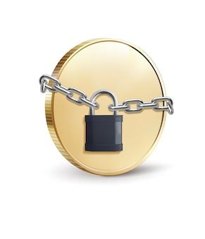 Moeda de ouro com cadeado ilustração do conceito de segurança de moedas
