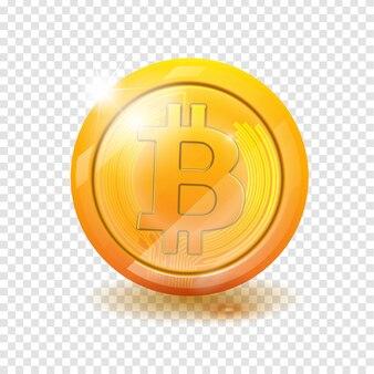Moeda de ouro com símbolo de bitcoin