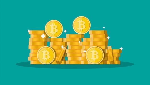 Moeda de ouro com sinal de bitcoin. dinheiro e finanças.