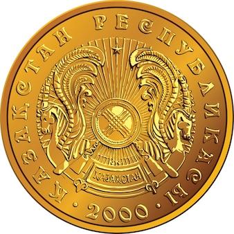 Moeda de ouro de dinheiro do cazaquistão com o emblema