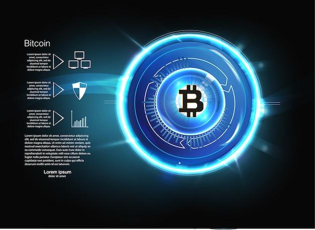 Moeda de ouro digital bitcoin, dinheiro digital futurista, conceito de rede mundial de tecnologia, estilo hud, ilustração