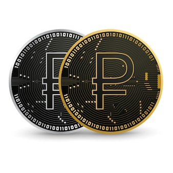 Moeda de ouro digital com rublo russo digital