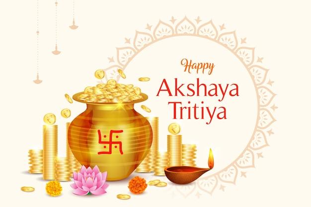 Moeda de ouro do happy akshaya tritiya festival com fundo kalash