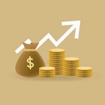 Moeda de ouro e saco de elemento e dinheiro de negócios