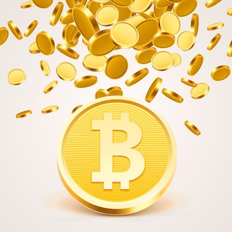 Moeda de ouro em dinheiro bitcoin, fundo de muitas moedas