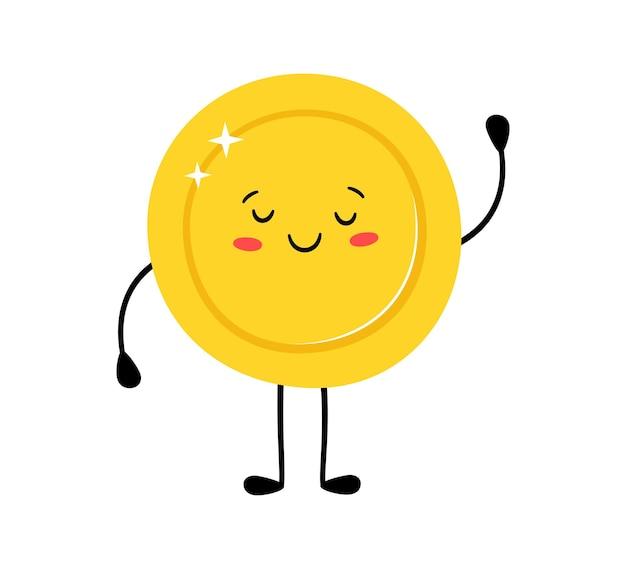 Moeda de ouro fofa. personagens de desenhos animados engraçados do vetor. feliz vencedor. ilustração de desenho vetorial isolada no fundo branco