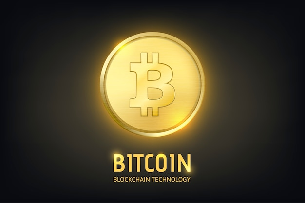 Moeda de ouro moeda realista criptografia - bitcoin. tecnologia blockchain. closeup em fundo escuro
