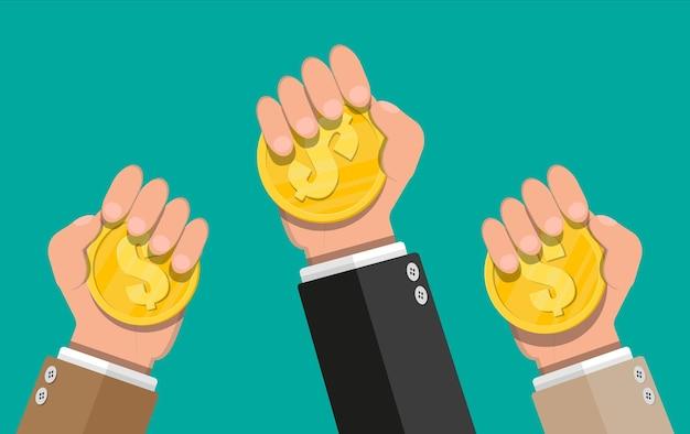 Moeda de ouro na mão. moeda de ouro com cifrão. crescimento, renda, poupança, investimento. símbolo de riqueza. sucesso nos negócios. ilustração em vetor estilo simples.