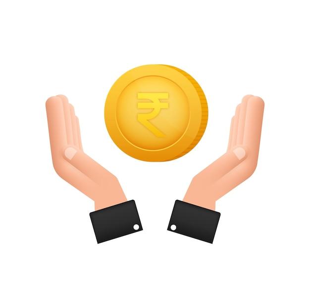 Moeda de rupia com a mão, ótimo desenho para qualquer finalidade. ilustração em vetor estilo simples. ícone de moeda.