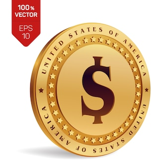 Moeda de um dólar. moeda de ouro 3d física
