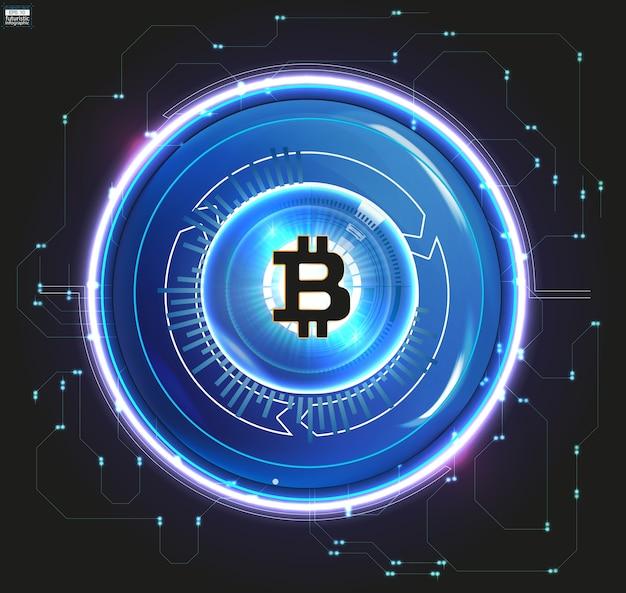 Moeda digital bitcoin, dinheiro digital futurista, conceito de rede mundial de tecnologia, estilo hud, ilustração