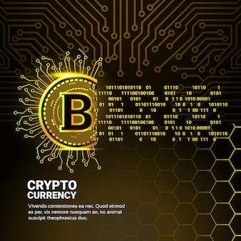 Moeda digital bitcoin dourada