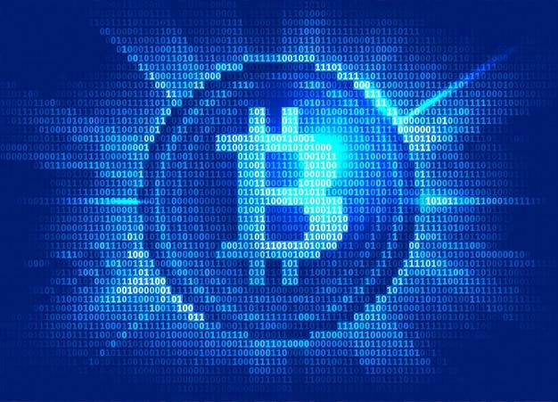Moeda digital bitcoin virtual consiste em código binário