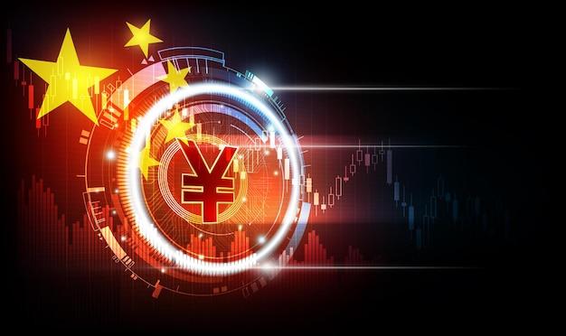 Moeda digital chinesa yuan moeda digital yuan dinheiro digital futurista com fundo da bandeira da china