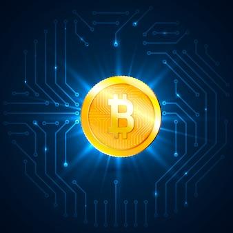 Moeda digital de bitcoin dourado. conceito de criptomoeda e mineração. rede e processamento de dados no plano de fundo do circuito