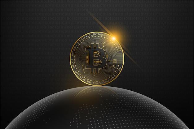 Moeda digital de bitcoin dourado e holograma do globo do mundo