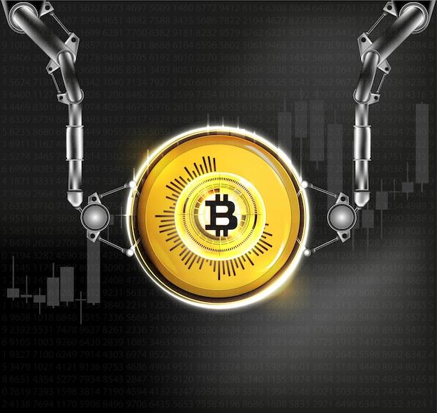 Moeda digital de bitcoin dourado. ilustração.