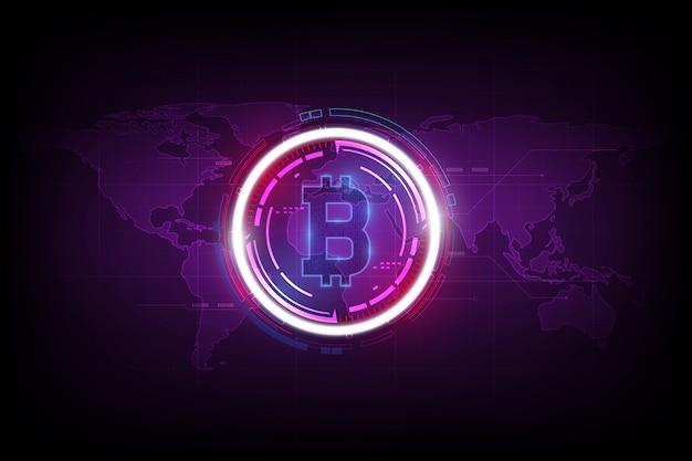 Moeda digital de bitcoin e holograma do globo do mundo, dinheiro digital futurista e conceito mundial da rede da tecnologia.