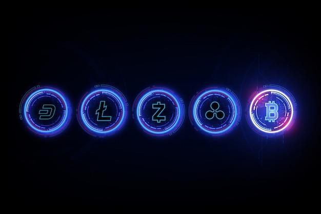 Moeda digital de bitcoin, litecoin, ondinha, dash, e zcash no formulário do berço de newton, conceito da finança do mundo do fintech.