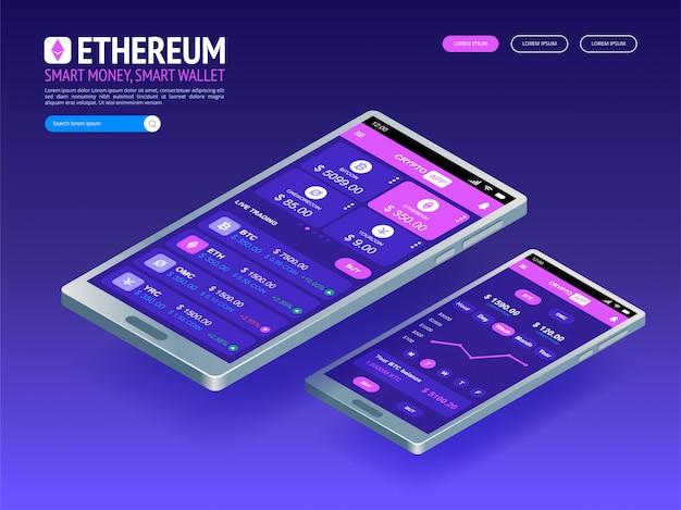 Moeda digital ethereum. dinheiro digital futurista. conceito de rede mundial de tecnologia isométrica.