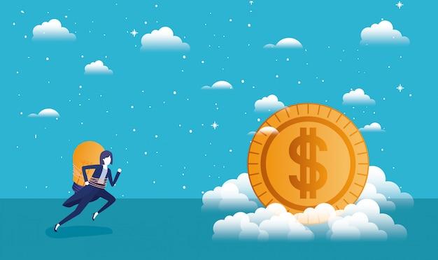 Moeda dinheiro com empresária