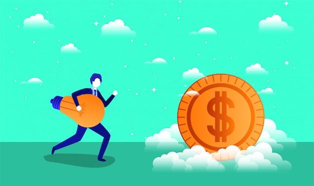 Moeda dinheiro com empresário
