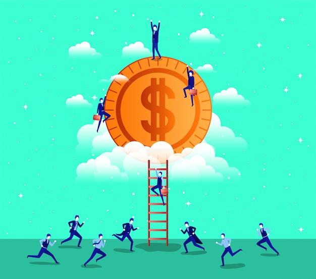 Moeda dinheiro com equipe de empresários
